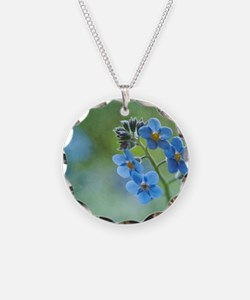Tiny blue forget-me-not flow Necklace
