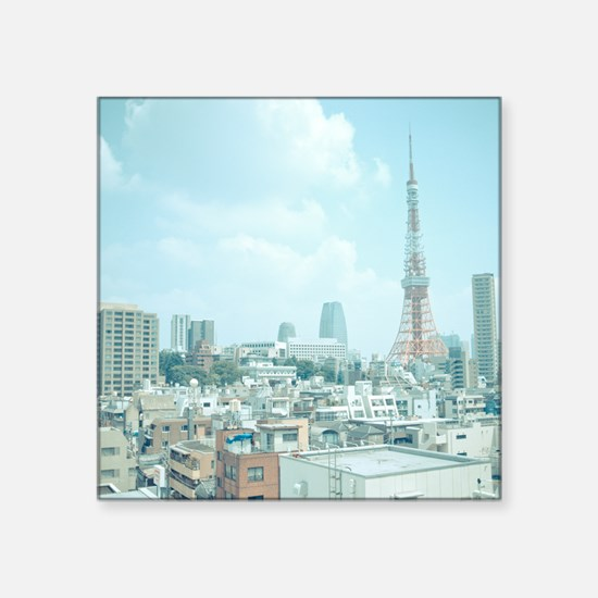 "Tokyo Tower and skyline, Ja Square Sticker 3"" x 3"""