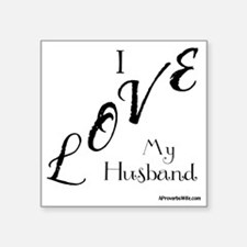 "Love My Husband Logo Black Square Sticker 3"" x 3"""