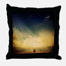 The trees, birds and light play in th Throw Pillow