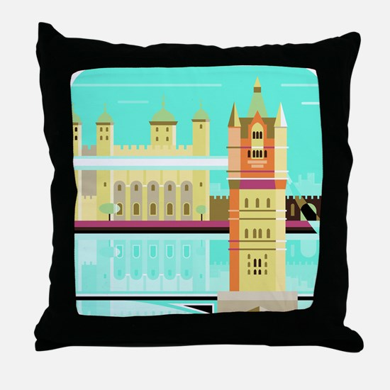 Tower Bridge and the tower of London, Throw Pillow