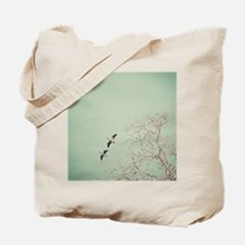 Two geese migrating by beautiful birch tr Tote Bag