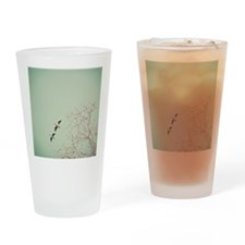 Two geese migrating by beautiful bi Drinking Glass