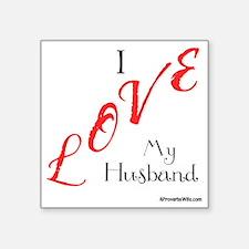 "Love My Husband Logo Fuschi Square Sticker 3"" x 3"""