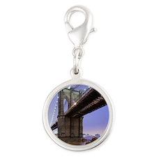 Underneath Brooklyn bridge, Ne Silver Round Charm