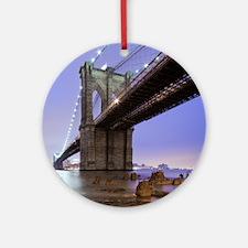 Underneath Brooklyn bridge, New Yor Round Ornament