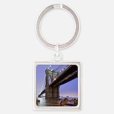 Underneath Brooklyn bridge, New Yo Square Keychain