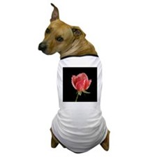 Water droplets on red rose against bla Dog T-Shirt