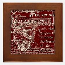 Vintage Script Red Framed Tile