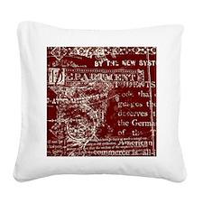 Vintage Script Red Square Canvas Pillow