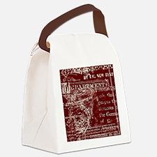 Vintage Script Red Canvas Lunch Bag