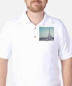 Two love birds with view of Eiffel towe T-Shirt