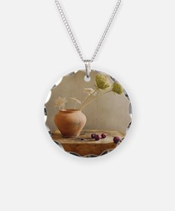 Wild flowers with cherries o Necklace
