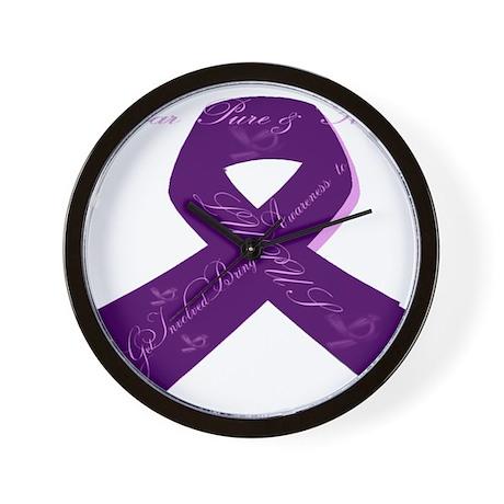 Purple Lupus Ribbon Wall Clock