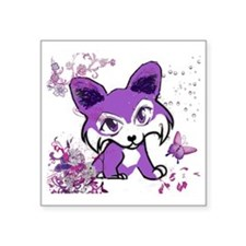 "Purple Corgi Manga Square Sticker 3"" x 3"""