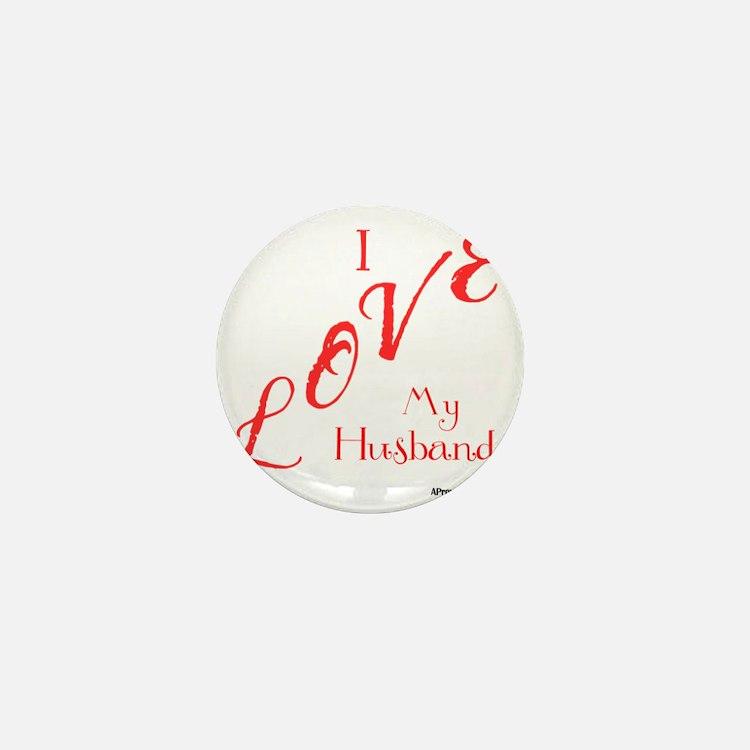 Love My Husband Logo Hot Pinky Mini Button