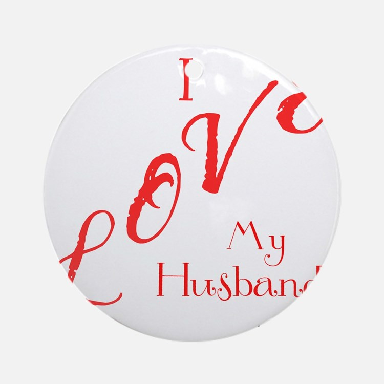 Love My Husband Logo Hot Pinky Round Ornament