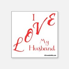 "Love My Husband Logo Hot Pi Square Sticker 3"" x 3"""