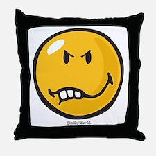 Vexed Smiley Throw Pillow