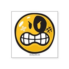 "Aggression Smiley Square Sticker 3"" x 3"""