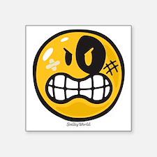"""Aggression Smiley Square Sticker 3"""" x 3"""""""