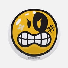 Aggression Smiley Round Ornament