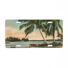 Vintage Coconut Palms Aluminum License Plate