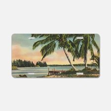 Vintage Coconut Palms Aluminum License Plate