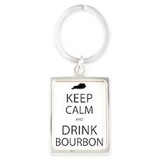 Keep Calm and Drink Bourbon Portrait Keychain