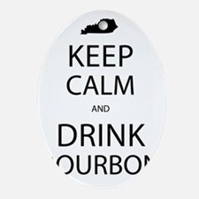Keep Calm and Drink Bourbon Oval Ornament