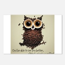 Owl says COFFEE!! Postcards (Package of 8)