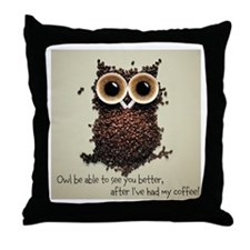 Owl says COFFEE!! Throw Pillow