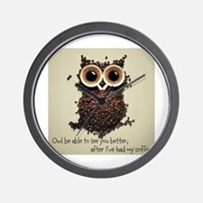 Owl says COFFEE!! Wall Clock