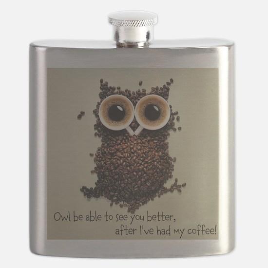 Owl says COFFEE!! Flask