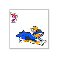 "Corgi Super Hero Square Sticker 3"" x 3"""