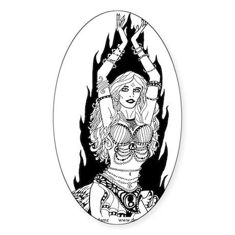 Dark Fire Dancer Oval Sticker