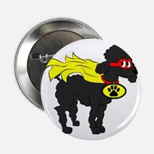 "Black Poodle Super Hero 2.25"" Button"