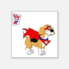 """Beagle Super Hero Square Sticker 3"""" x 3"""""""