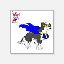 """Border Collie Super Hero Square Sticker 3"""" x 3"""""""