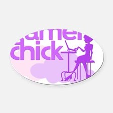 gamer chick Oval Car Magnet