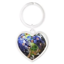 Global Network of People Heart Keychain