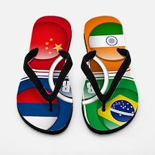 BRIC Countries Buttons Flip Flops