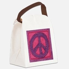 Hand-sewn Peace Sign Canvas Lunch Bag