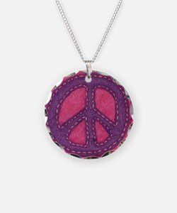Hand-sewn Peace Sign Necklace