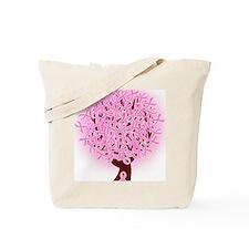 breast cancer pink ribbon tree Tote Bag