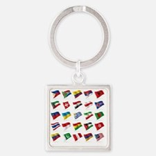 Vector set of world flags 3 Square Keychain