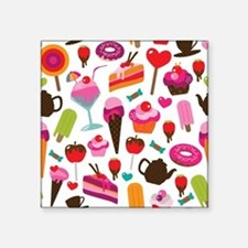 "Seamless party candy ice cr Square Sticker 3"" x 3"""