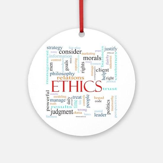 Ethics word concept illustration Round Ornament