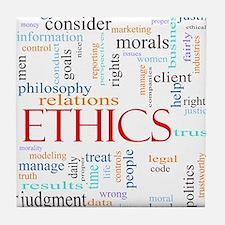 Ethics word concept illustration Tile Coaster