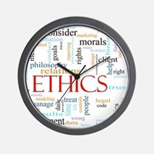 Ethics word concept illustration Wall Clock